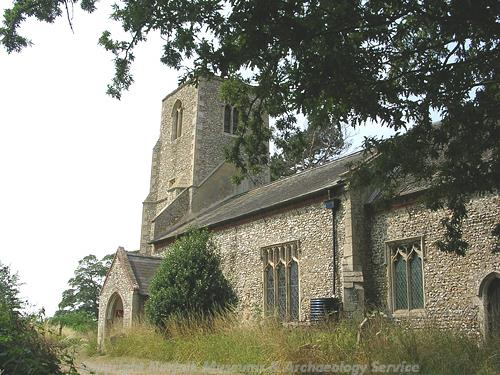 View of St Peter's Church from the southeast, showing the tower and the south porch.