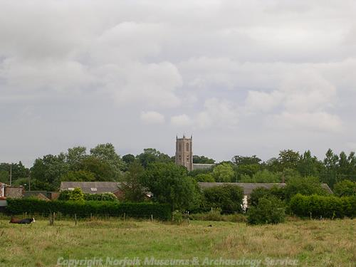 The tower of St Peter and St Paul's Church, Fakenham, seen from Hempton.