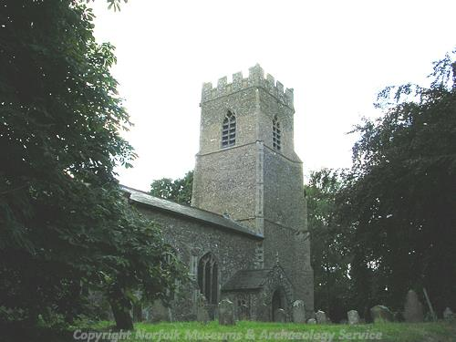 The 14th century and late tower of St Margaret's Church.