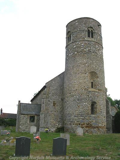 View of the Late Saxon or Norman round tower of St Mary's Church.