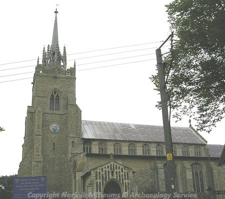 St Peter and St Paul's Church, showing the unusual 15th century spire.