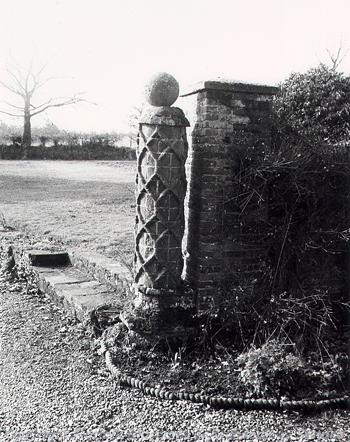 South gatepost at Holverston Hall.