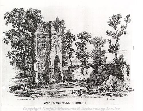 Ladbrooke's print of St Peter's Church in Stanninghall.