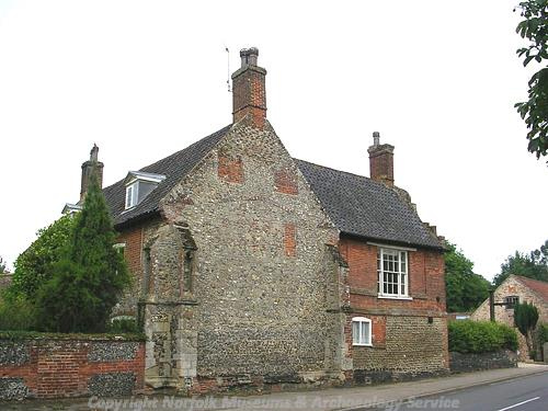 View of Priory Farmhouse which contains the remains of a 14th century religious building.