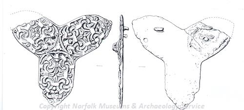 Drawing of a large Viking trefoil brooch.