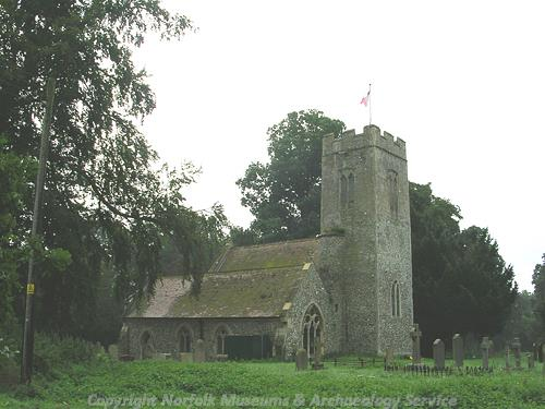 St Mary's Church showing Decorated style west tower.