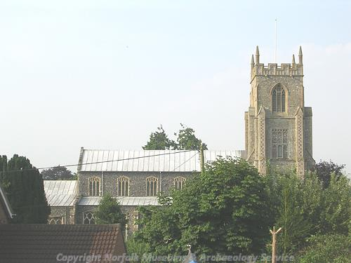 St Mary's Church showing west tower and part of nave.