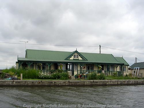 One of the distinctive inter-war chalets built in vernacular style on the River Thurne