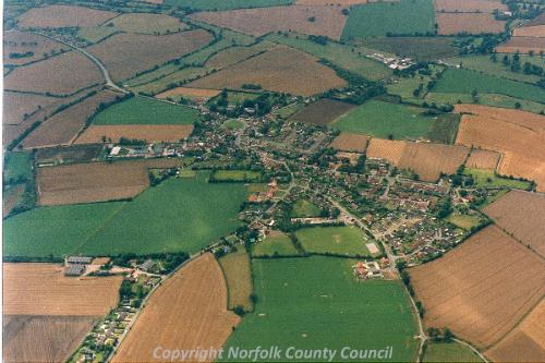 An aerial photograph of Pulham Market.