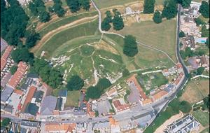 Aerial view of castle showing motte.