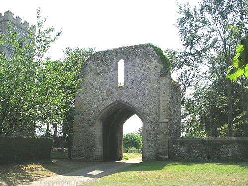 The gatehouse of West Acre priory.
