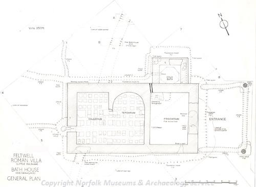 Ground plan of Feltwell Roman villa and bath house.