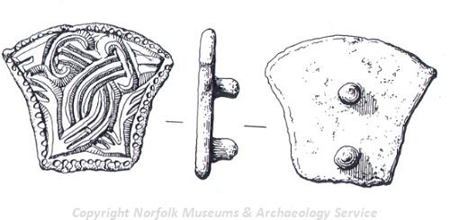Drawing of an Early Saxon mount from Fulmodestone.