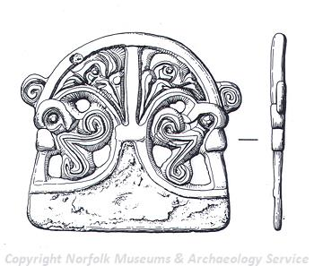 Drawing of an Early Saxon pendant from Fulmodestone.
