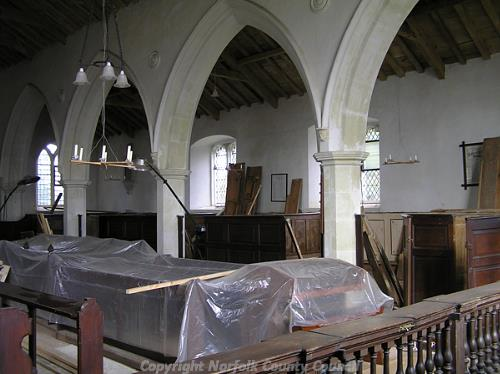 The interior of St Andrews Church showing the box pews.