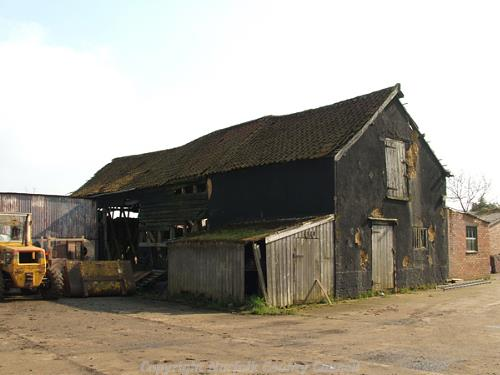 17/18th century timber framed barn. Exterior from the northeast.