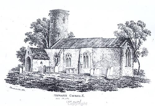 Etching of Thwaite Church showing the south side of the building.