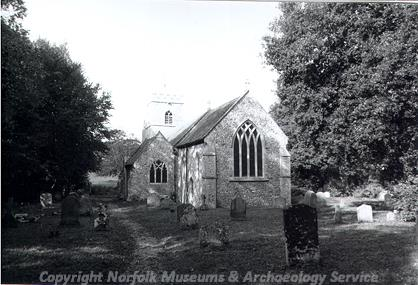 Photograph of St Mary's Church, Anmer showing the west end of the building.
