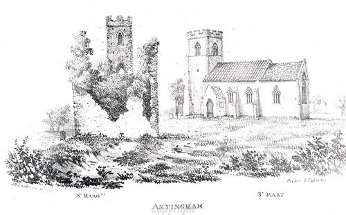 Etching of St Mary's and St Margaret's Churches, Antingham, which share a single churchyard.