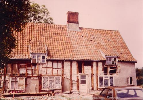 Photograph of an important 14th century timber framed cottage in Banham viewed from the east.