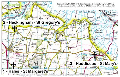 Map of the Norfolk Churches Round Towers and Norman Doors Heritage Trail