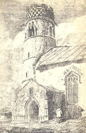 Etching of St Mary's Church, Haddiscoe.