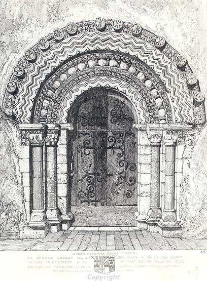 The Norman north doorway of St Gregory's Church, Hales in an etching by J.S. Cotman.