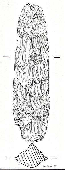 Drawing of a Mesolithic flint axehead.