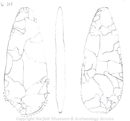 Drawing of a complete Bronze Age flint dagger blade from Blofield.
