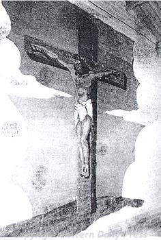Photograph of World War Two American forces mural of the Crucifixion in the chapel of Hethel Airfield, Bracon Ash and Ketteringham.
