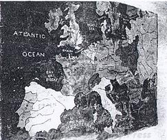 Photograph of World War Two American forces mural of map of the world in the Sunday School of Hethel Airfield, Bracon Ash and Ketteringham.