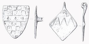 Drawing of two medieval horse harness pendants found in Booton.