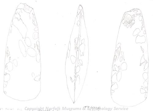 Drawing of a Neolithic polished flint axehead from Boughton.