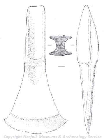 Drawing of a Bronze Age palstave from Bradenham.