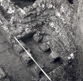 A hypocaust underneath a bath house in Brampton Roman town during excavation
