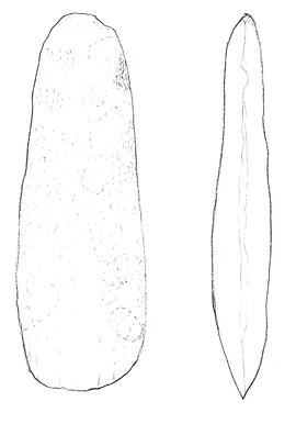 Drawing of a Neolithic polished axehead from Brumstead
