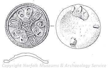 Drawing of a Late Saxon imported Viking 9th century gilded convex disc brooch. The brooch is decorated with 9 animal heads depicted in Borre style.