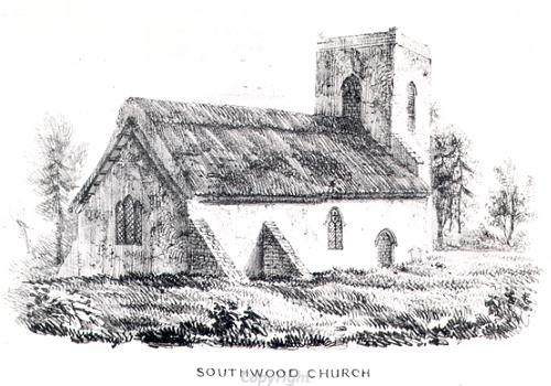An etching of Southwood Church, Cantley. This medieval church is now ruined.
