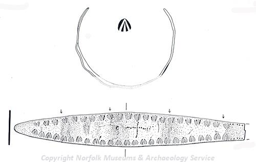 Drawing of a 6th century Early Saxon gold child's bracelet with stamped decoration found in Carleton Rode.