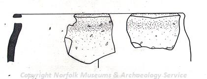 Drawing of pieces of Neolithic pottery found at Chedgrave.