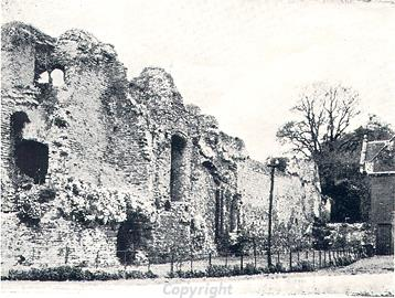 Photograph of the ruins of Claxton Castle. Claxton Manor was built within the ruins of the castle.