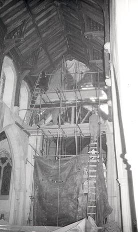 Photograph of the restoration of St Botolph's Church in 1985.