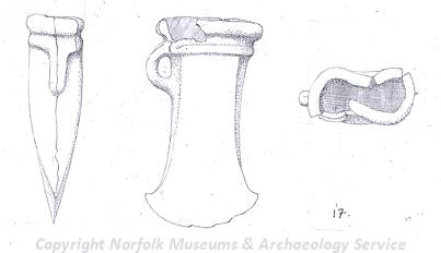 Drawing of a Bronze Age axehead from a hoard from Cranwich.