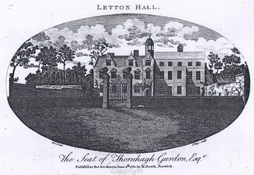 Etching of Letton Hall, Cranworth in 1781.