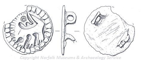 A Late Saxon backwards-turning beast disc brooch from Crimplesham