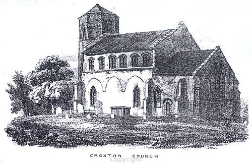 Etching of All Saints' Church, Croxton.