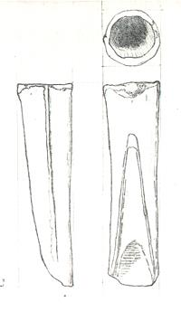 Drwaing of a socketed Bronze Age gouge from Didlington.