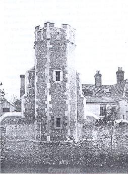 Photograph of the 14th or 15th century tower, all that survives of Dilham Castle. 19th century Dilham Hallwas built in the 19th century on the site.