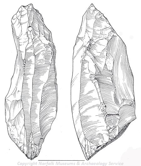 Drawing of a Late Upper Palaeolithic blade core from Drayton.