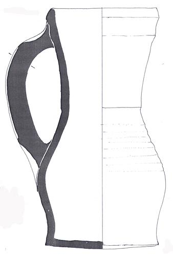 Drawing of a 13th century green glazed pitcher found by divers in the River Waveney at Earsham.